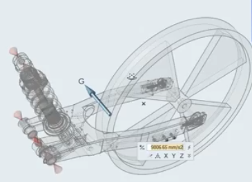 MBD simulation of motorcycle suspension in Inspire 2018 – Russian
